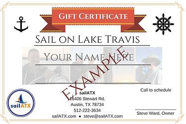 Gift Certificate for Lake Travis Austin Sailing