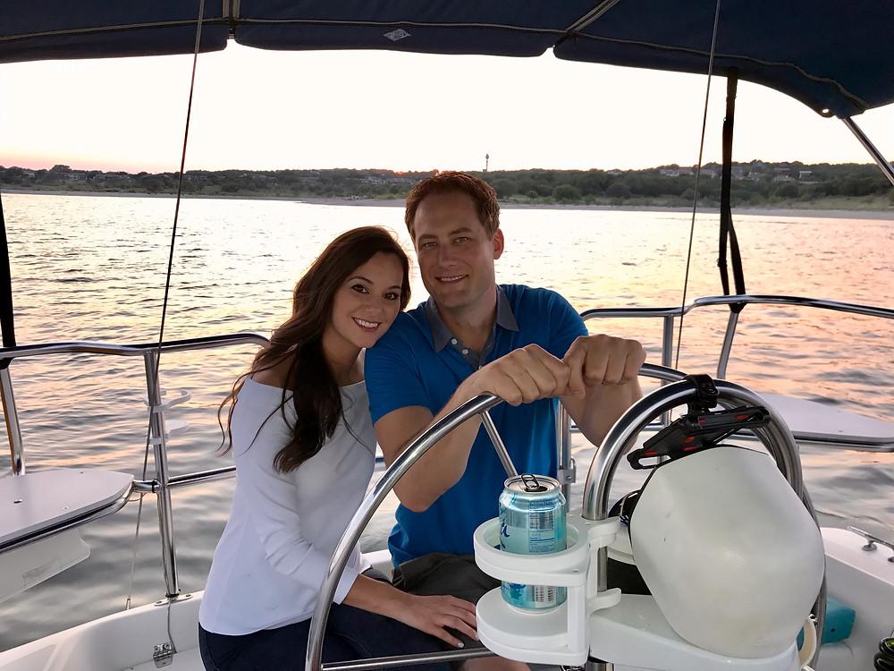 A Couple Enjoying a Sunset Sail with sailATX, Lake Travis