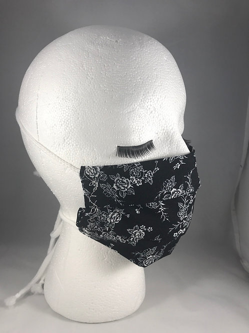 Black Floral Pleated Face Mask