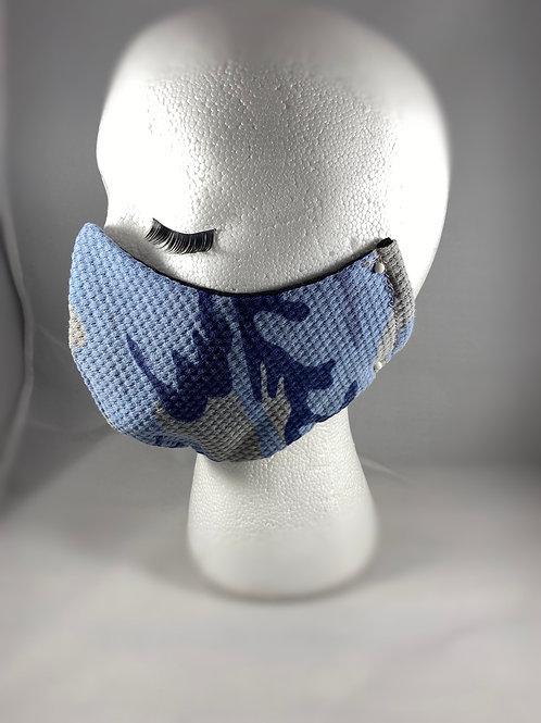 Blue Camo flannel Cotton Face Mask