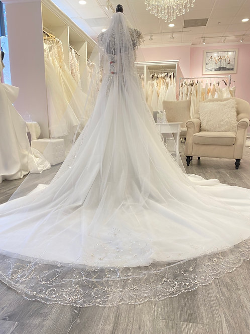 Cathedral Veil with scalloped silver edge