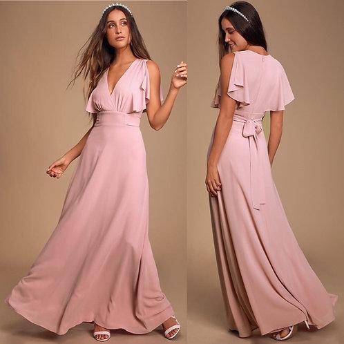 Lulus Mauve Flutter Sleeve Maxi Dress