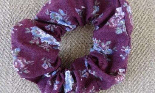 Purple flowers scrunchie
