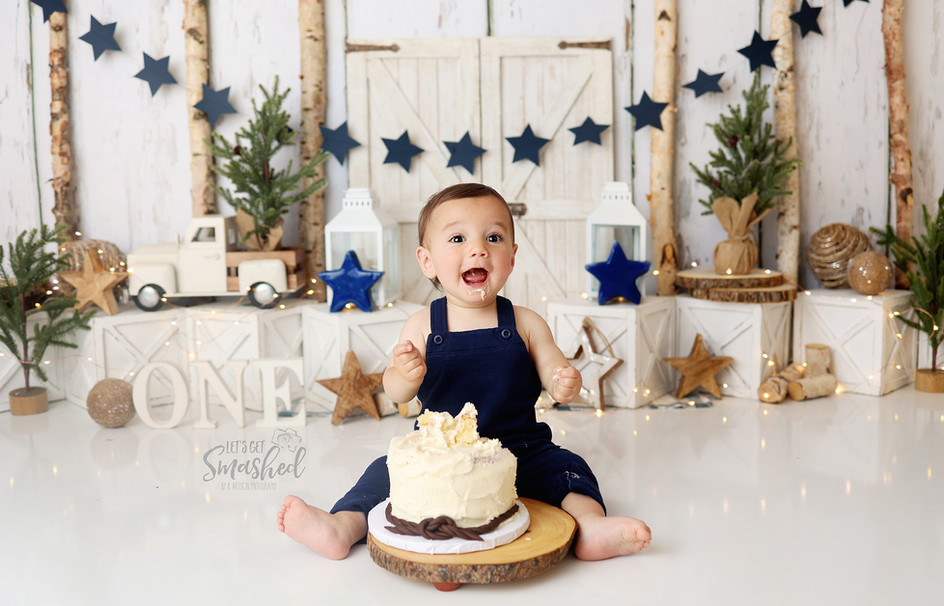 South Jersey Cake Smash Photographer, Boy neutral blue theme