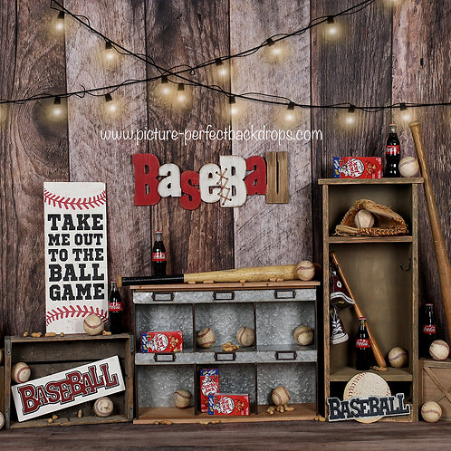 Vintage lights Baseball-8x8 fabric