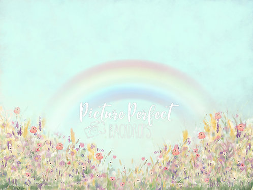 Pastel Floral MInt Rainbow 60x80 Fabric