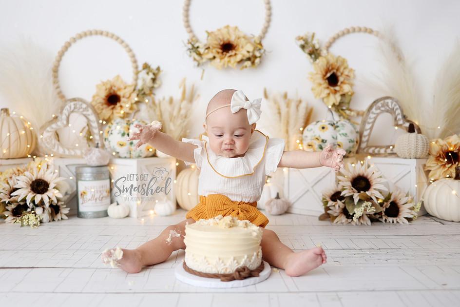 South Jersey Photographer, cake smash, boho, white sunflower theme, neutral
