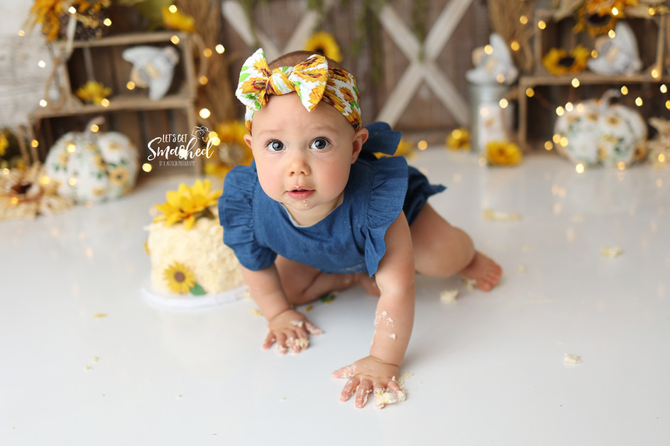 South Jersey Cake Smash Photographer, Fall theme, sunflowers, pumpkins