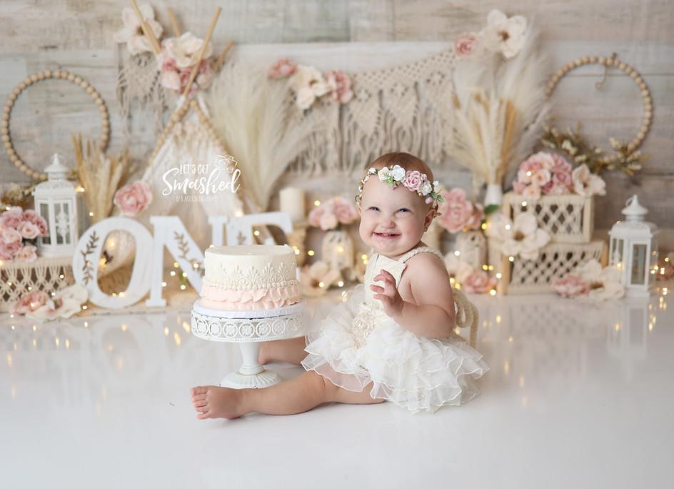 South Jersey Photographer, boho, pink and cream, elegant, 1st birthday,