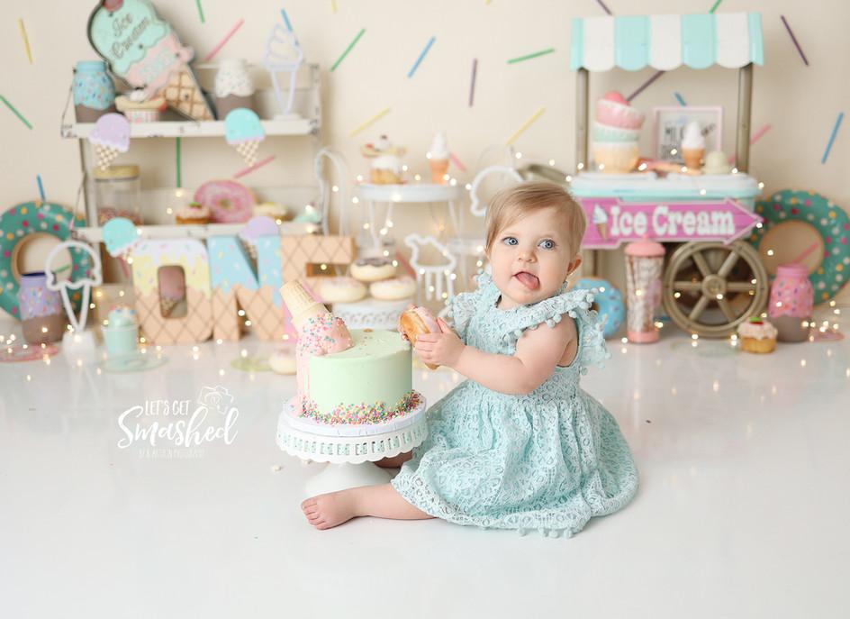 South Jersey Cake smash photographer, girl, Sweets theme, icecream theme, 1st Birthday, first birthday