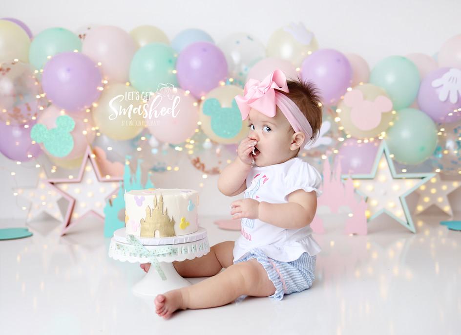 South Jersey Photographer, cake smash, 1st birthday, Disney inspired, theme, pastel