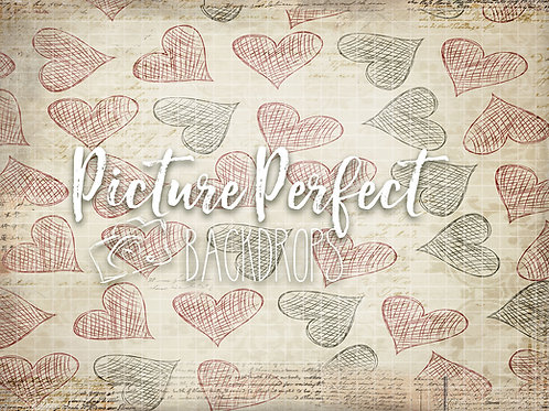 Vintage Rustic Hearts 051 60x80 fabric