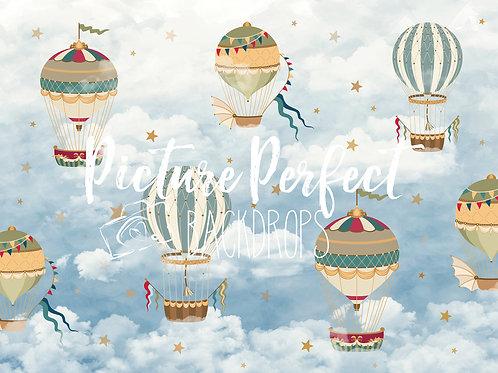 Vintage Hot Air Balloon- 6x8 fleece