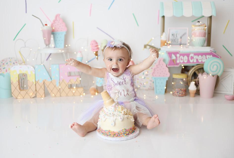 South Jersey Cake Smash Photographer- ice cream theme, sweets, pastel, 1st Birthday