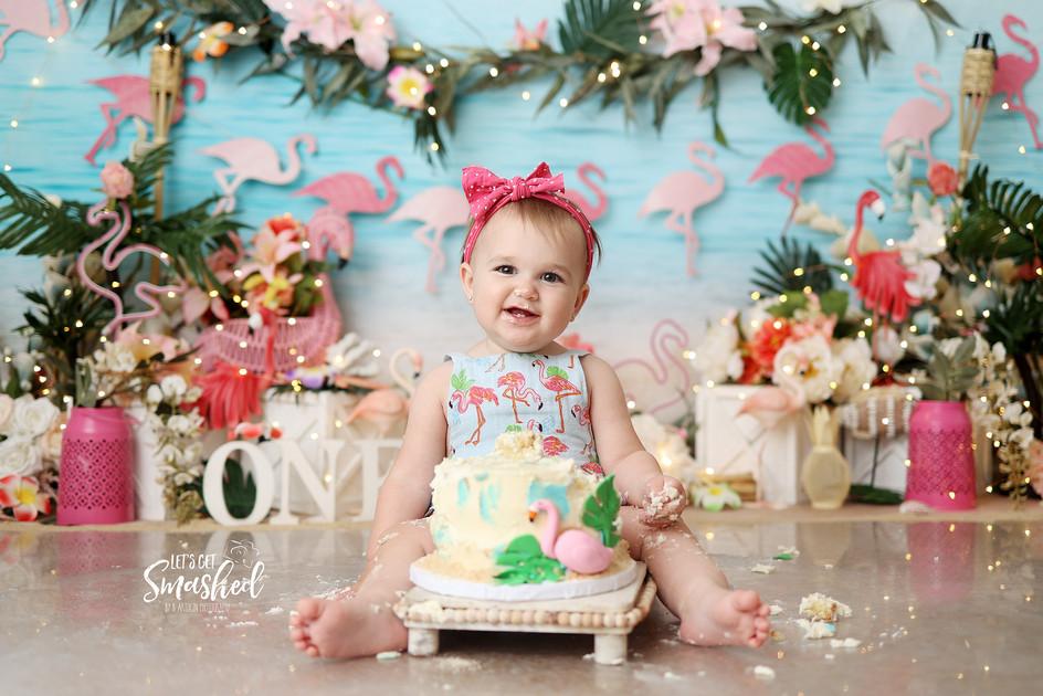 South Jersey Photographer- Beach theme, flamingo, summer, cake smash, 1st Birtthday
