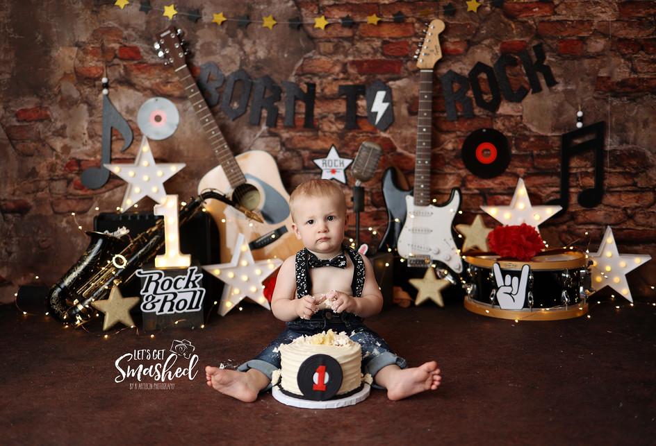 South Jersey Cake smash photographer, Born to rock, boy theme Rock theme, 1st Birthday