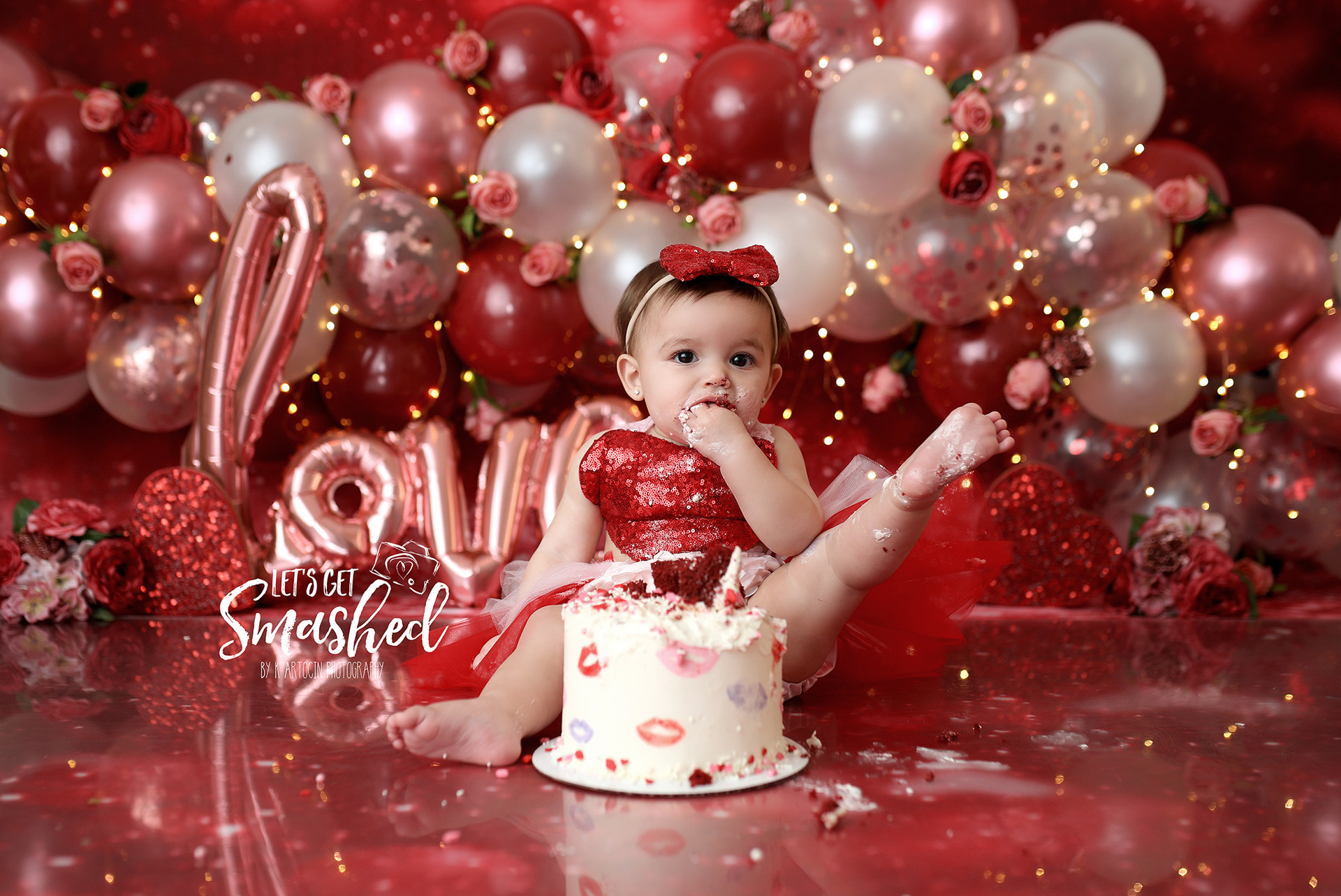 South Jersey Cake Smash photographer, Valentine's Day, Love, Heart Smash, floral, rormance, girl theme, balloon garland