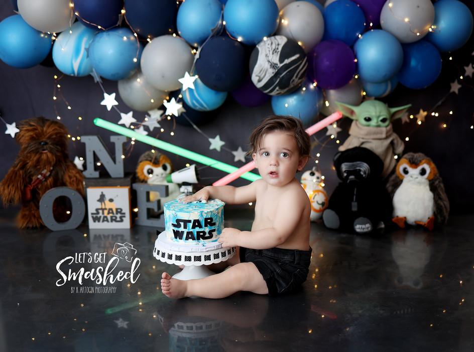 South Jersey Cake smash photographer, Starwars Theme, 1st Birthday