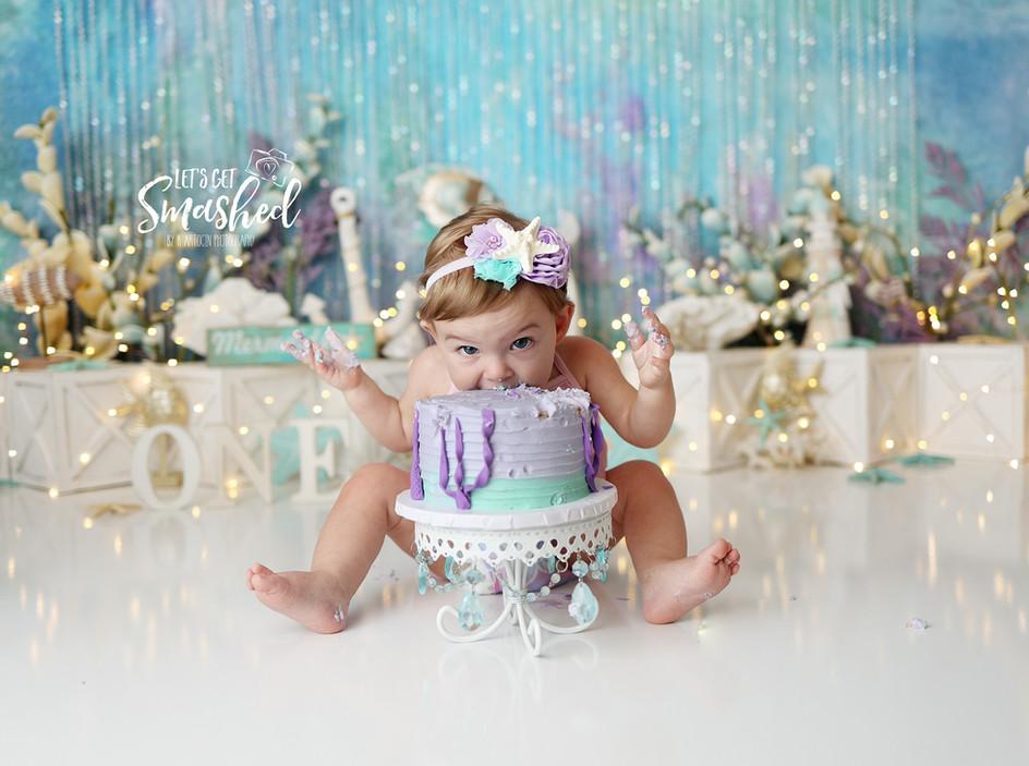 South Jersey Photographer-Mermaid theme, cake smash, 1st Birthday