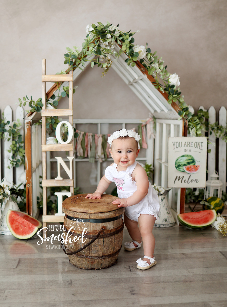 South Jersey Cake Smash Photography, watermelon theme, First birthday, one in a melon