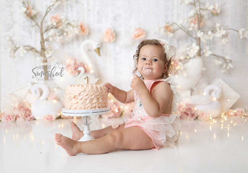 South Jersey Cake Smash Photographer, swan theme, Pink and white floral, 1st birthday girl