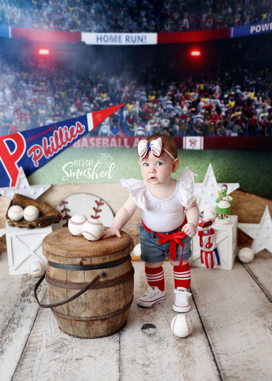 South Jersey Cake smash photographer, Baseball theme, girl, Phillies theme, 1st Birthday