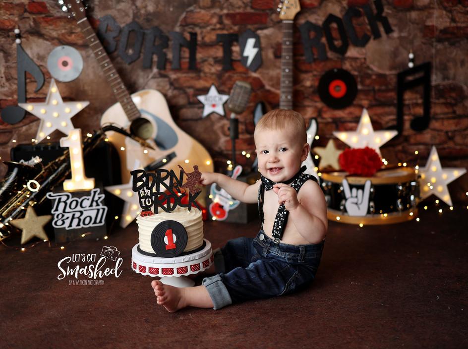 South Jersey Cake smash photographer, Born to rock, boy theme Rock Star theme, 1st Birthday