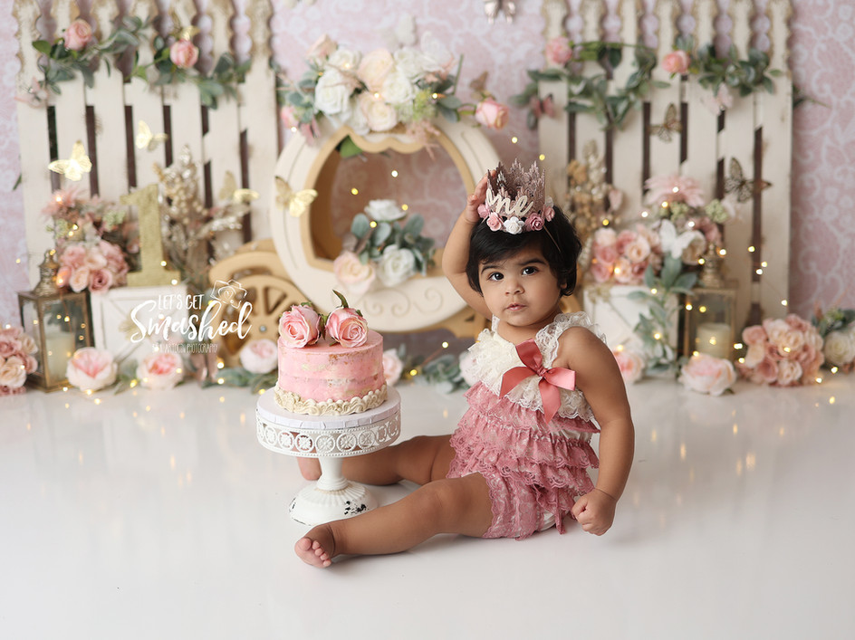 South Jersey Photographer-Princess theme, cask smash, 1st Birthday, pink and gold, floral,