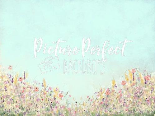 Pastel Floral MInt 60x80 Fabric