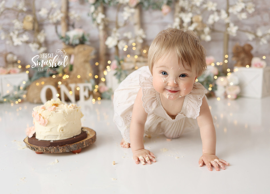 South Jersey Cake Smash 1st Birthday Photographer- Woodland floral theme, New Jersey