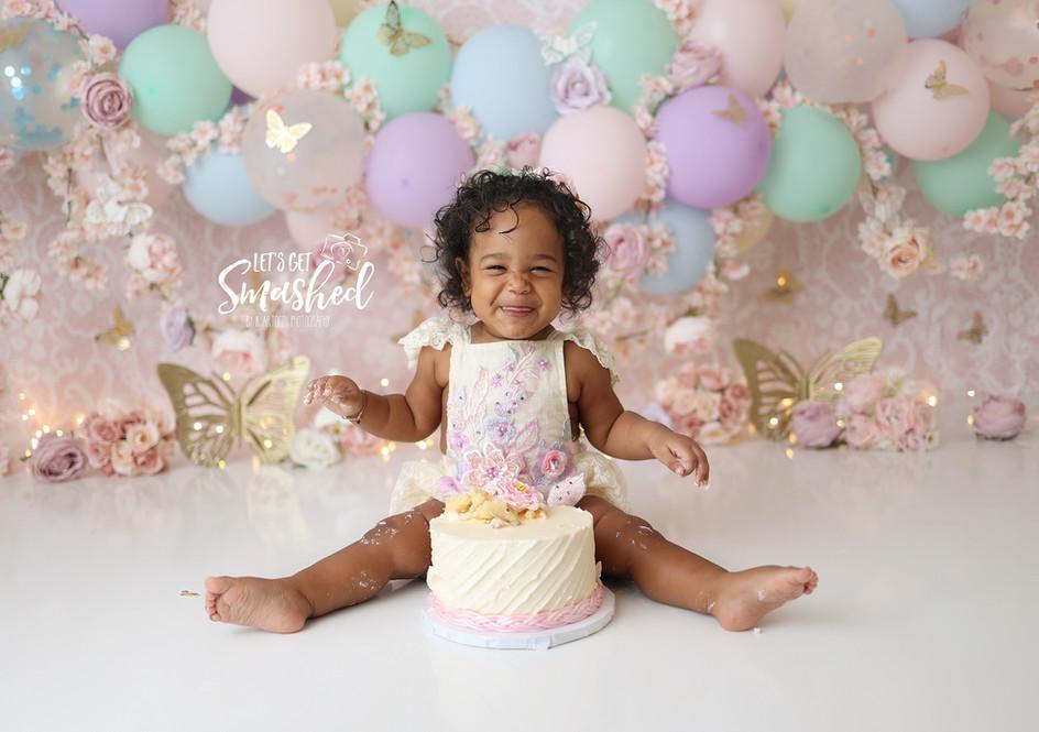 South Jersey Cake Smash Photographer, pastel butterfly, girl theme