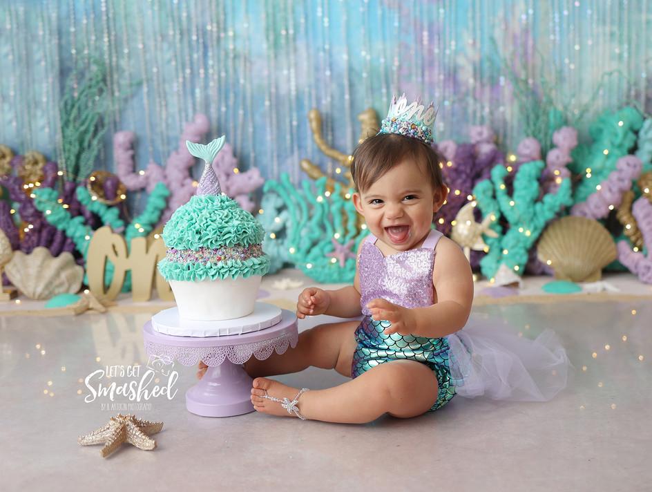 South Jersey Photographer, mermaid theme, cake smash, 1st Birthday