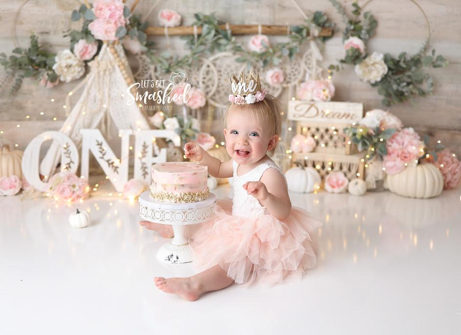 South Jersey Photographer, boho, pink and cream, elegant, 1st birthday, pumpkin
