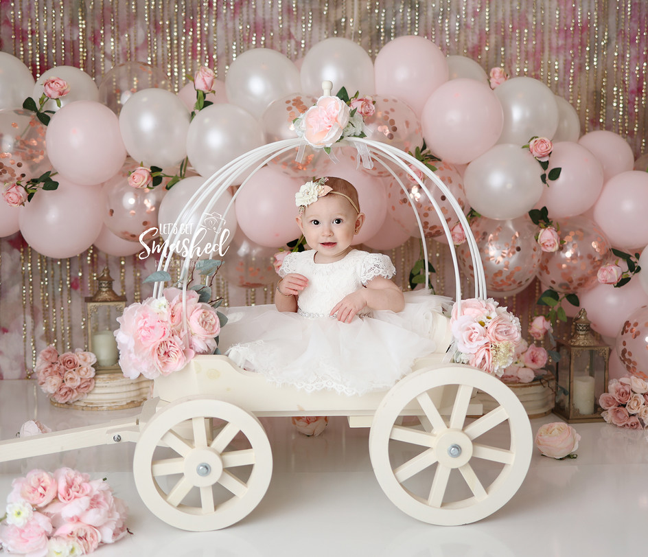 South Jersey Photographer-Princess theme, cask smash, 1st Birthday, pink and gold, floral, balloon garland