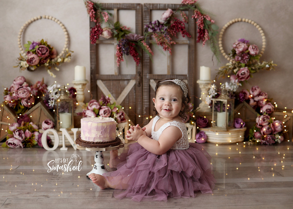 South Jersey Photographer, purple rustic, floral cake smash, 1st Birthday