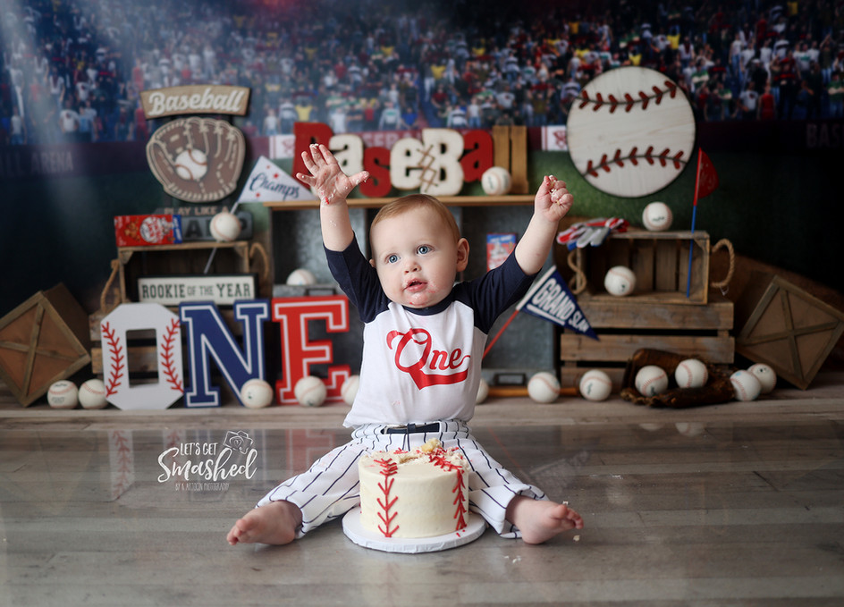 South Jersey cake smash Photographer- Baseball theme, rookie of the year