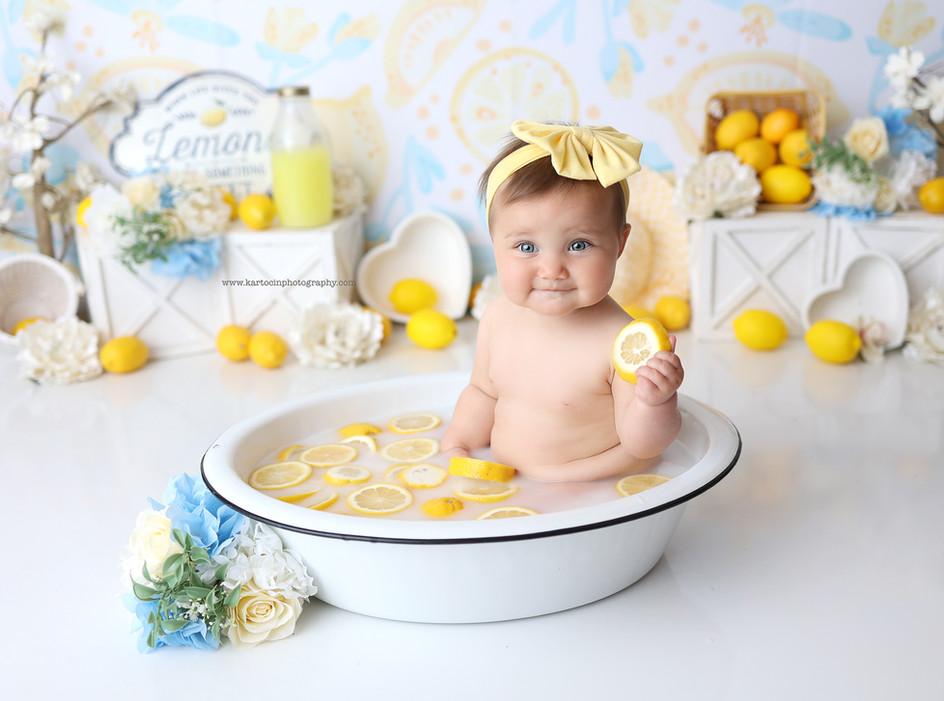 South Jersey Photographer-Milkbath, fruit, lemon theme