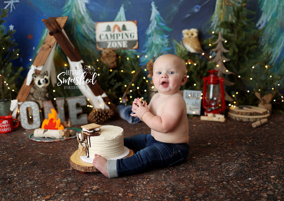 South Jersey cake smash Photographer- Camping theme, 1st Birthday, Boy theme