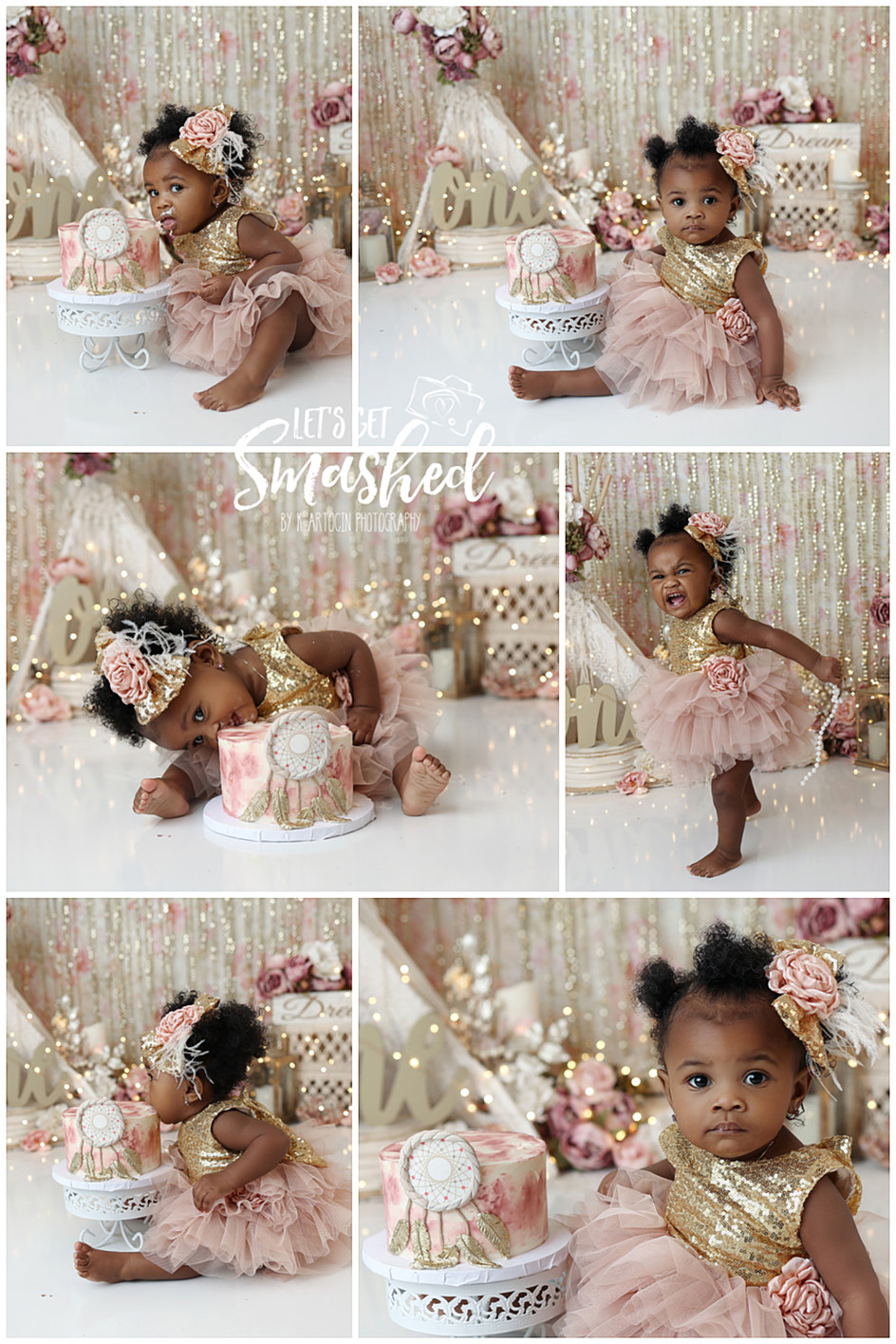 South Jersey Cake Smash Photographer, boho, gold, pink, floral, sparkle