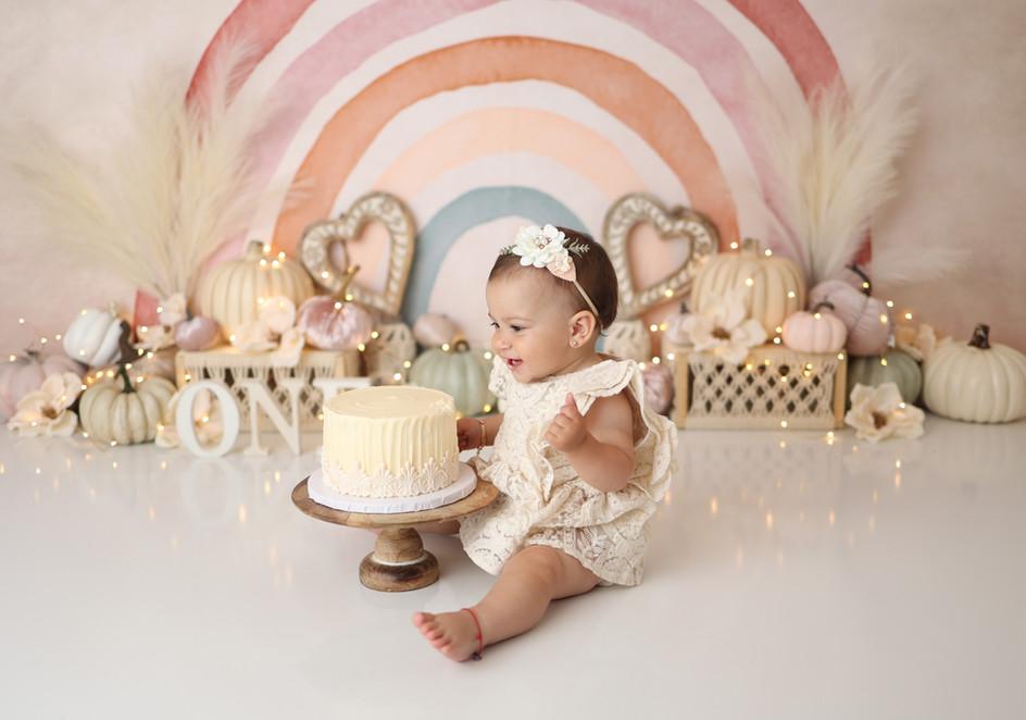 South Jersey Cake Smash Photographer, Pumpkin, neutral rainbow, boho, 1st Birthday theme