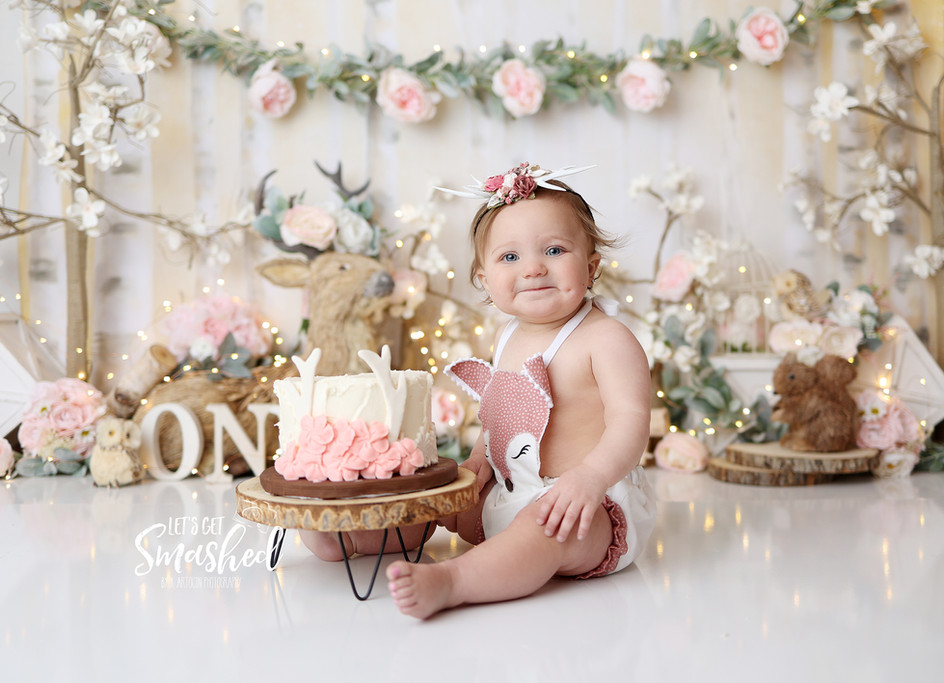 South Jersey Cake Smash Photographer cake smash - Woodland theme, floral, let's get smashed, Backdrop-picture perfect backdrops