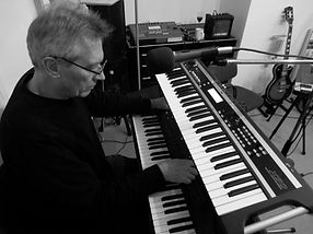 Playing Korg keyboards at a practice session