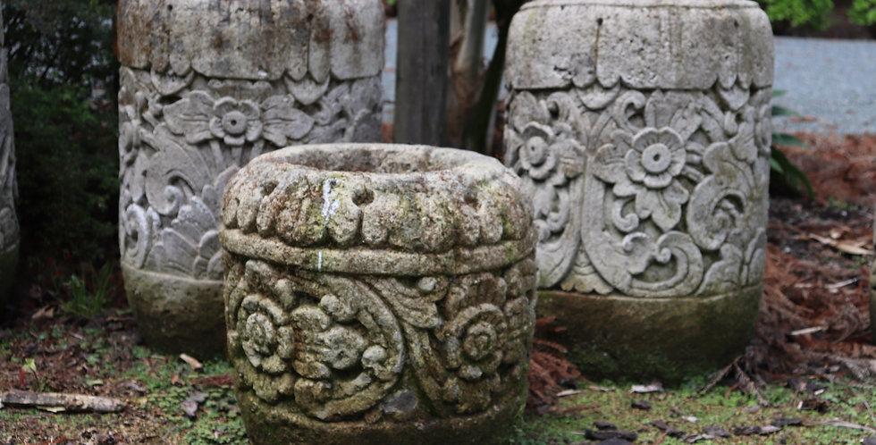 Balinese Carved Cylinder Pot