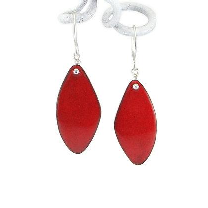 Ohrhänger, Rhomben, red