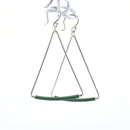 Emaille-Silber-Ohrhänger, dark green