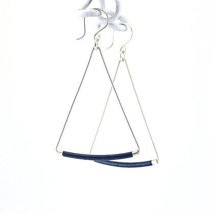 Emaille-Silber-Ohrhänger, dark blue