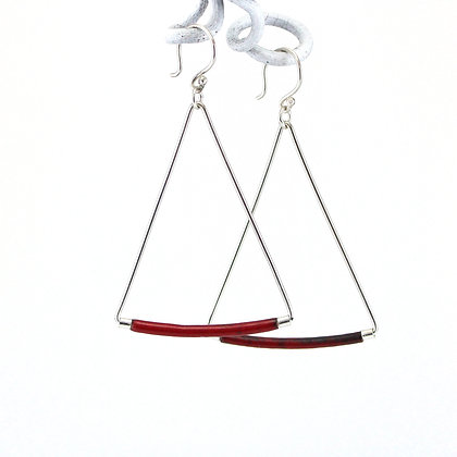 Emaille-Silber-Ohrhänger, victorian red