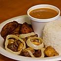 Fried Pork Chunks w/ Rice and Beans
