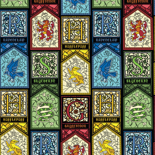 Harry Potter Stained Glass Houses Fabric