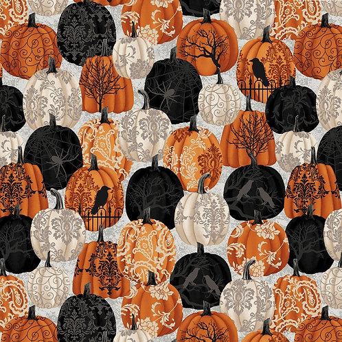 Spooky Night Damask Pumpkins Fabric